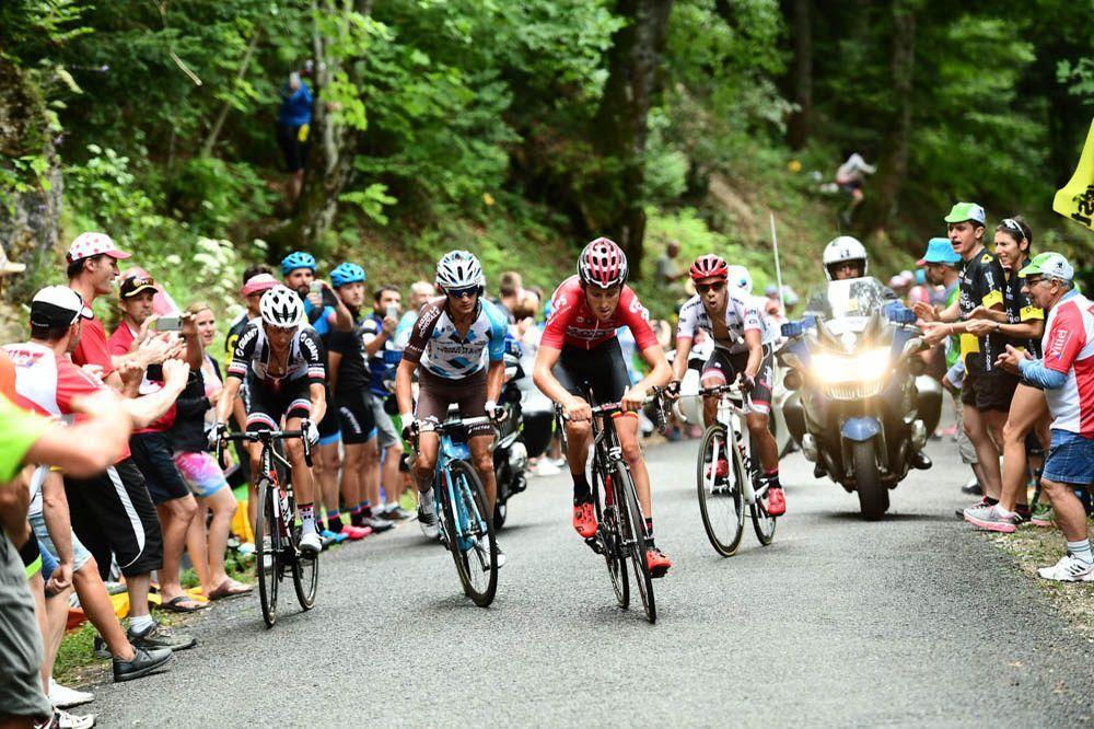 Tour de France 2017 - 09/07/2017 - Etape 9 - Nantua / Chambéry (181,5 km) - France - Alexis VUILLERMOZ (AG2R LA MONDIALE), Warren BARGUIL (TEAM SUNWEB), Tiesj BENOOT (LOTTO SOURAL), Jarlinson PANTANO (TREK - SEGFREDO)