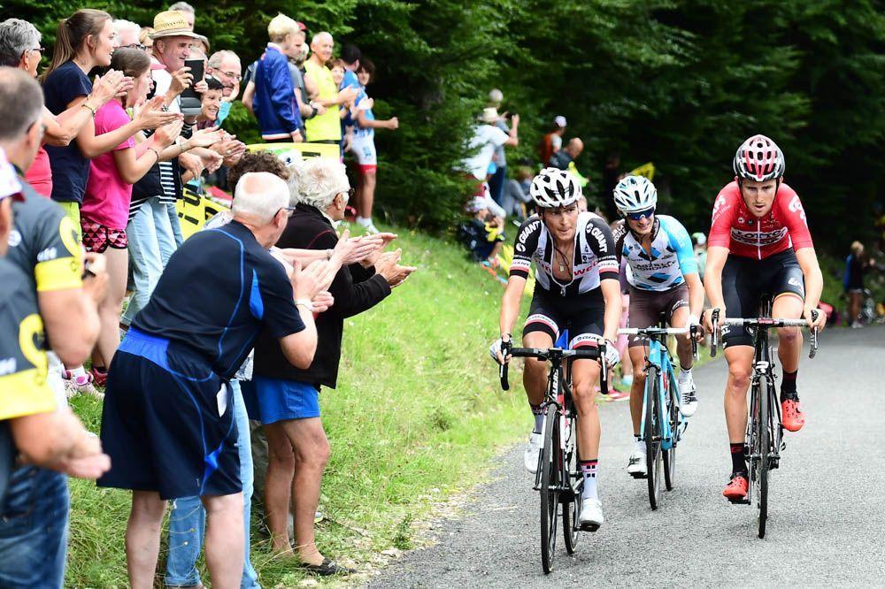Tour de France 2017 - 09/07/2017 - Etape 9 - Nantua / Chambéry (181,5 km) - France - Alexis VUILLERMOZ (AG2R LA MONDIALE), Warren BARGUIL (TEAM SUNWEB), Tiesj BENOOT (LOTTO SOURAL)